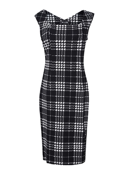 Ericdress Plaid Sleeveless Sheath Dress