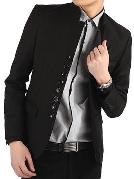 Ericdress Black Stand Collar Single-Breasted Men's Blazer