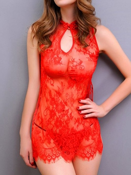 Ericdress Red Lace jacquard Hollow Sexy Chemise