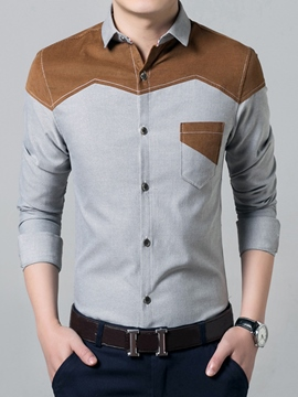 Ericdress Long Sleeve Patchwork Pocket Slim Men's Shirt
