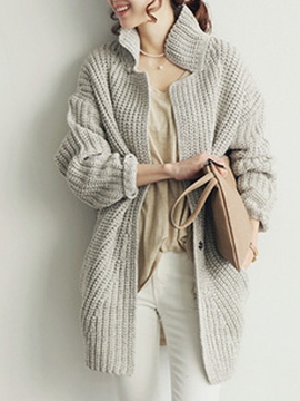 Ericdress Lapel Loose Cardigan Knitwear