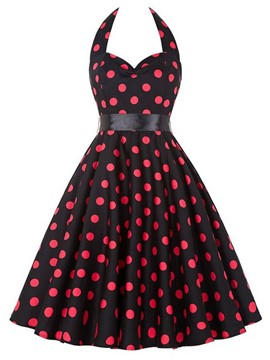 Ericdress Vintage Pleated Polka Dots A Line Dress