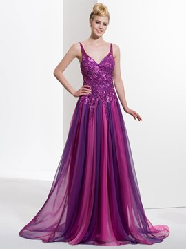 Ericdress A-line Spaghetti Straps Appliques Beading Sequins Brush Train Prom Dress