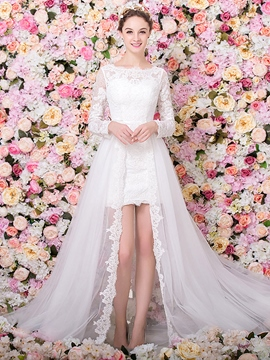 Ericdess Scoop Long Sleeves Lace Tulle Wedding Dress