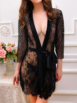 Ericdress Black Lace Cardigan Sexy Babydoll