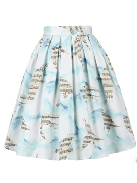 Ericdress Print Pleated Usual Skirt
