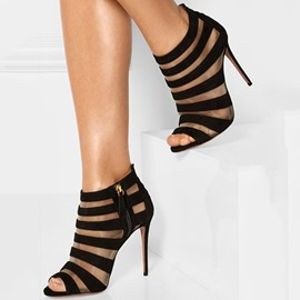 Ericdress Sexy Black Cut Out Peep Toe Stiletto Pumps