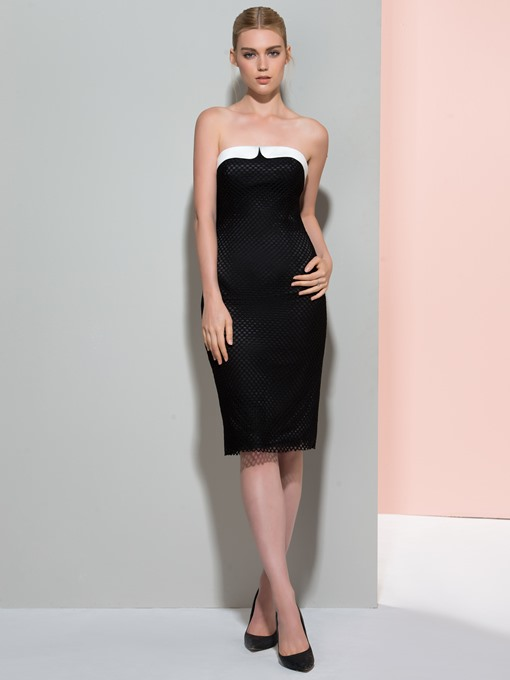 Ericdress Strapless Sheath Knee-Length Bodycon Homecoming Dress