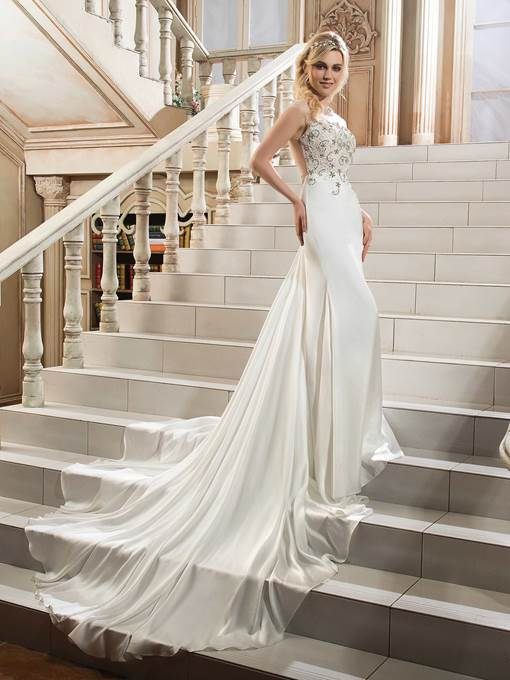 Ericdress Illusion Back Lace Beaded Wedding Dress