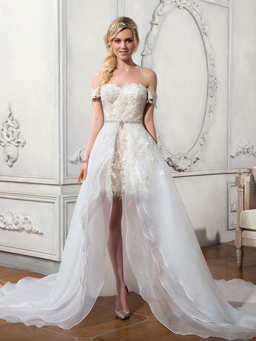 Ericdress Off The Shoulder Beach Wedding Dress with Removable Train