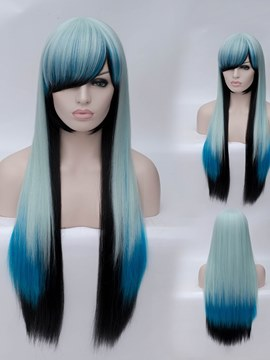 Ericdress Blue And Black Cosplay Wigs Straight Synthetic Hair Capless Cap
