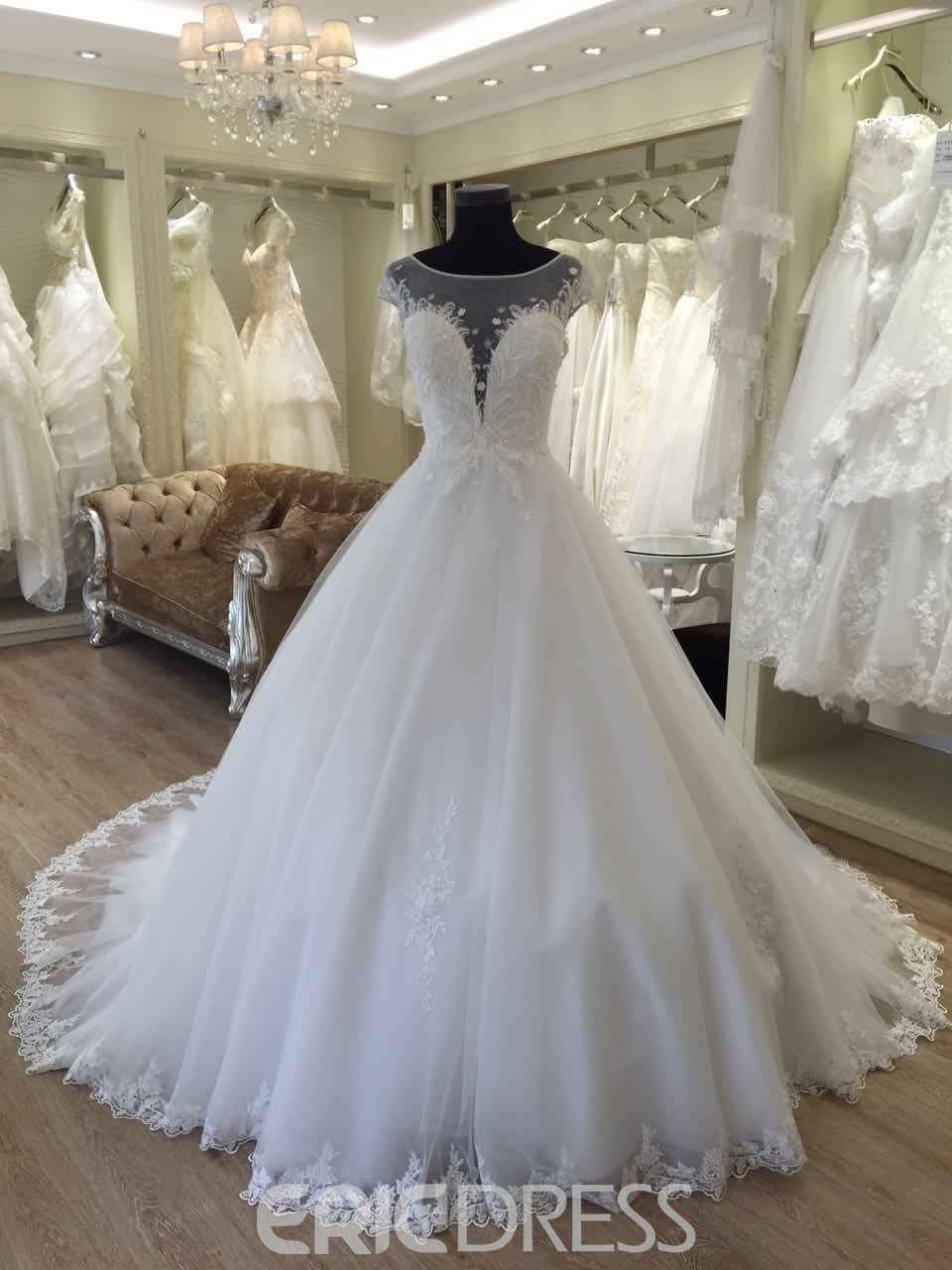 Ericdress Beautiful Beaded Appliques Scoop Ball Gown Wedding Dress