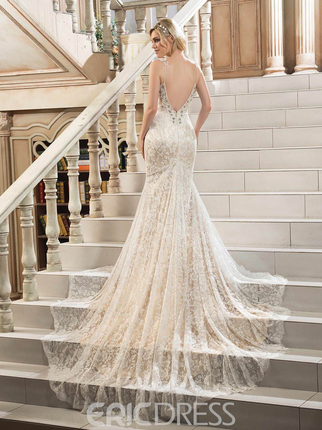 Ericdress Charming Spaghetti Backless Mermaid Lace Wedding Dress