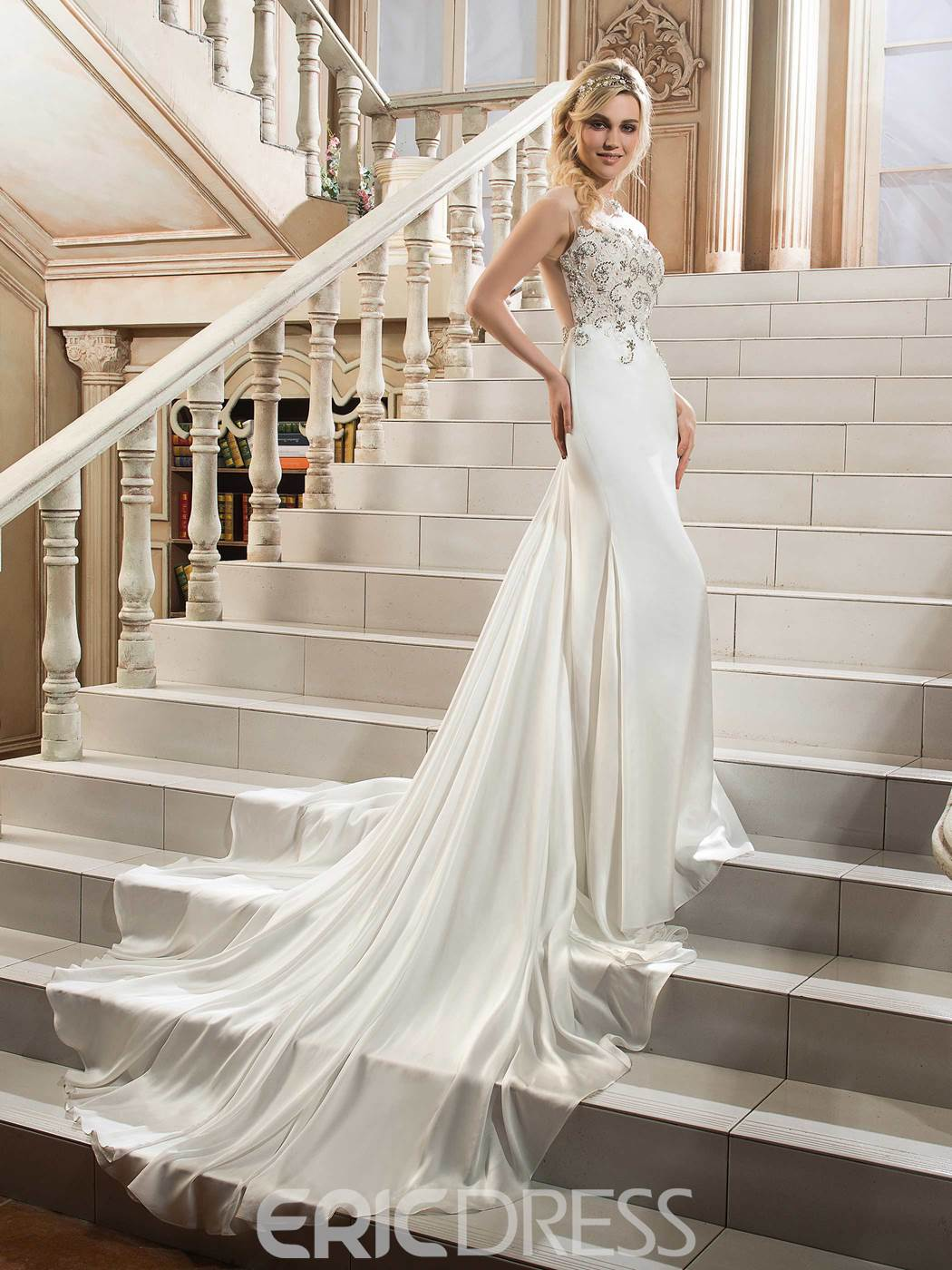 Ericdress Sheath Backless Illusion Neckline Beaded Wedding Dress