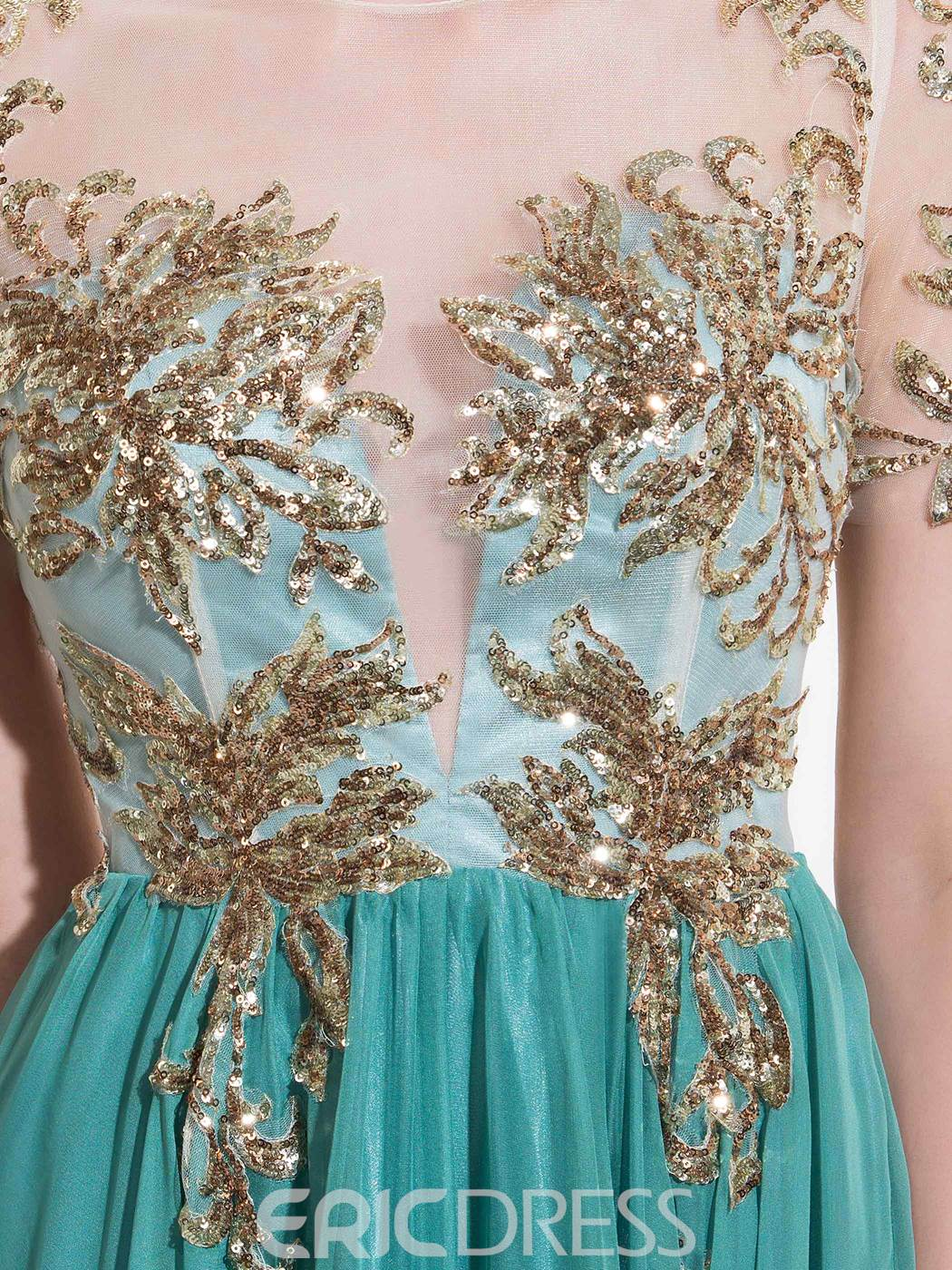 Ericdress Short Sleeves A-Line Floor-Length Prom Dress With Appliques And Sequins