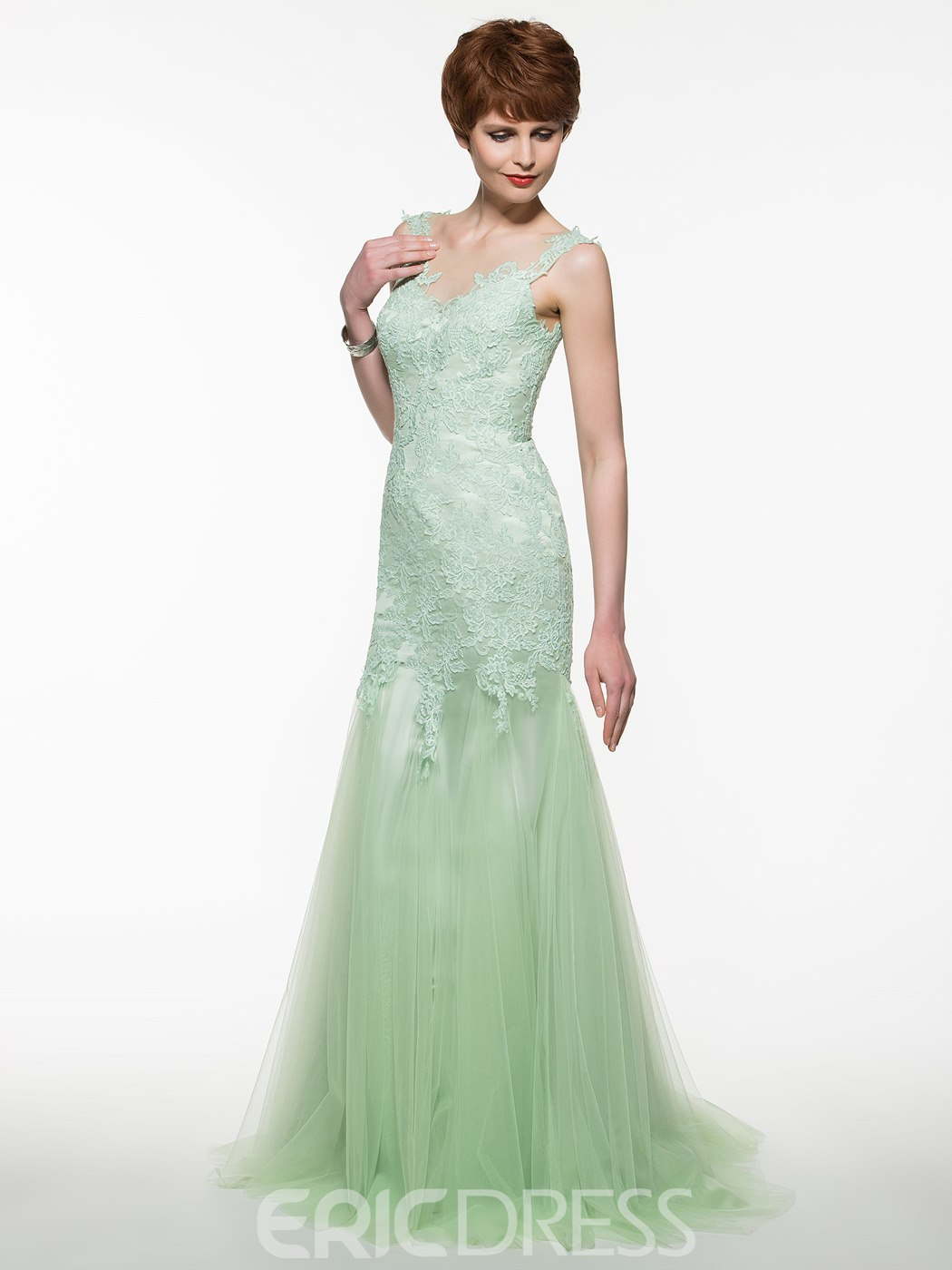Ericdress Charming Scoop Appliques Mermaid Long Mother Of The Bride Dress