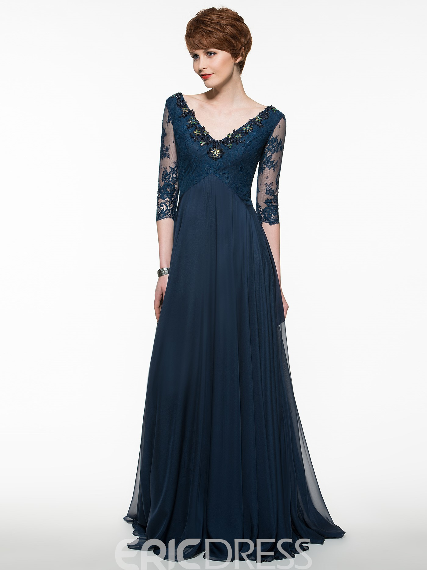 Ericdress Beautiful V Neck A Line Long Mother Of The Bride Dress With Sleeves