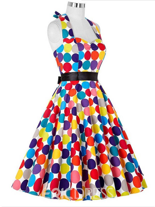 Ericdress Multiply Color Polka Dots Skater Casual Dress