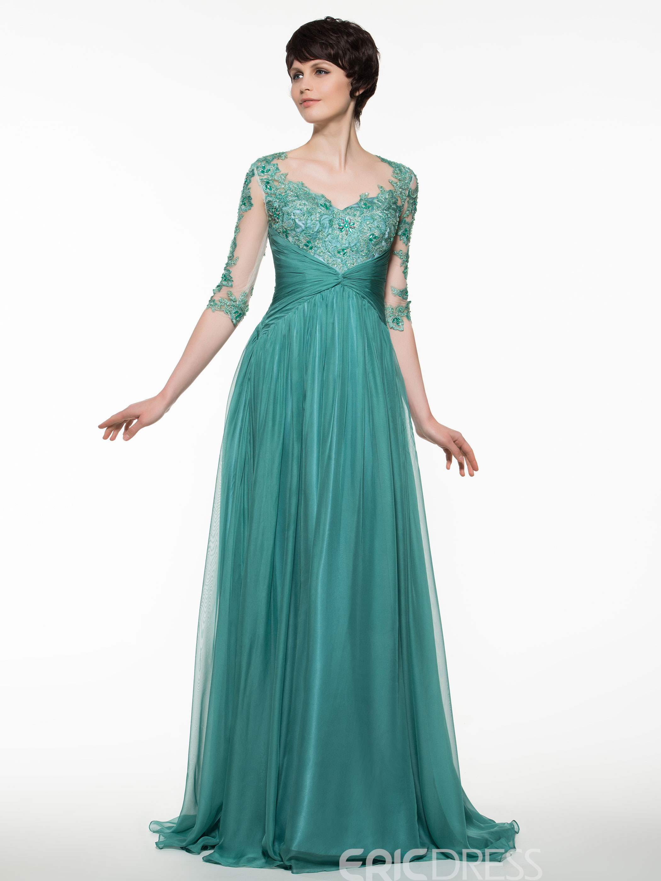 Ericdress Beautiful V Neck Half Sleeves A Line Long Mother Of The Bride Dress