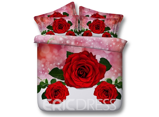 Vivilinen 3D Red Roses Printed Cotton 4-Piece Bedding Sets/Duvet Covers