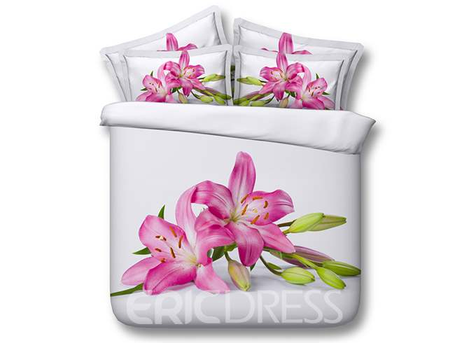 Vivilinen 3D Blooming Pink Lily Printed Cotton 4-Piece White Bedding Sets/Duvet Covers