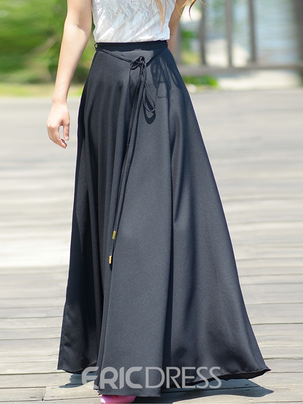 Ericdress Solid Color Lace-Up Expansion Maxi Skirt
