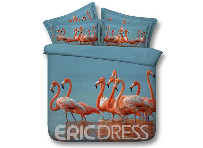 Tropical Pink Flamingos Printed 3D 4-Piece Bedding Sets/Duvet Covers