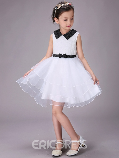 Ericdress Tulle Layered Dress Lapel Bowknot Girls Dress