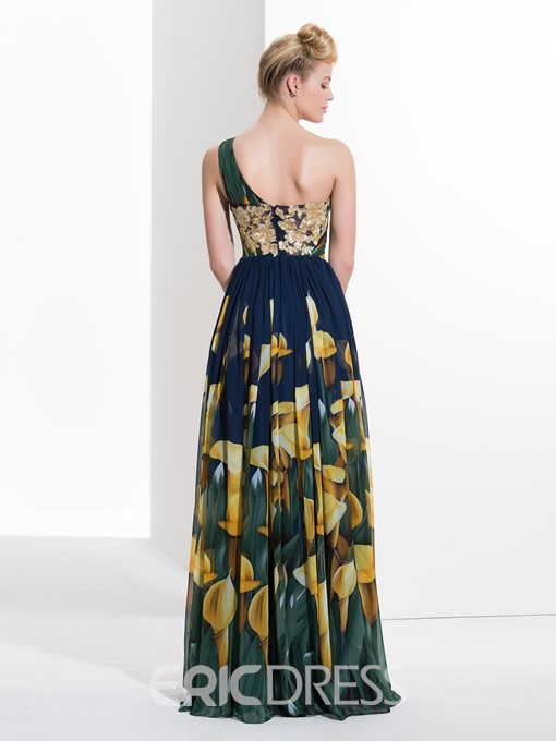 Ericdress A-Line One-Shoulder Appliques Pleats Prom Dress In Print With Split-Front