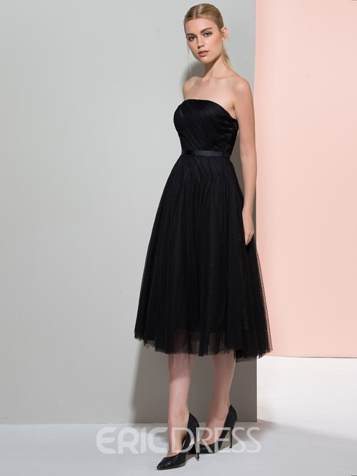Ericdress A-Line Strapless Pleats Sashes Tea-Length Cocktail Dress