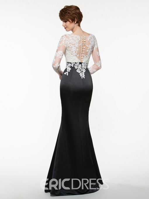 Ericdress Beautiful Bateau Appliques Mermaid Mother Of The Bride Dress With Sleeves