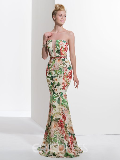Ericdress Trumpet Strapless Printed Sweep Train Prom Dress