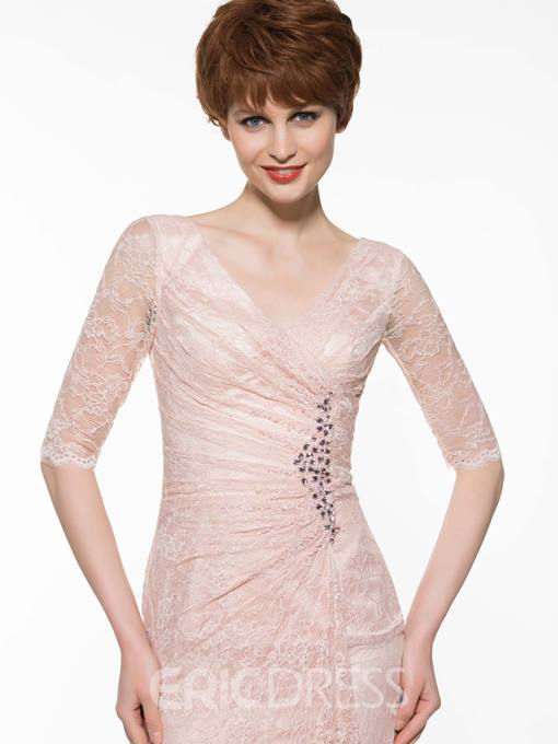 Ericdress Beautiful V Neck Half Sleeves Sheath Lace Mother Of The Bride Dress