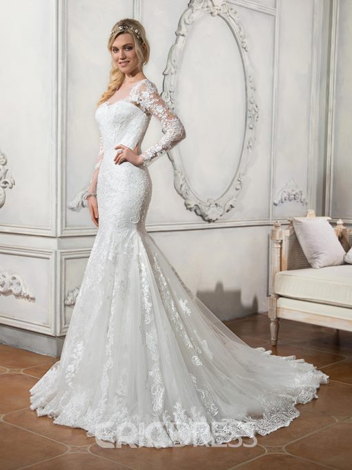 Ericdress Scoop Neck Appliques Long Sleeves Mermaid Wedding Dress