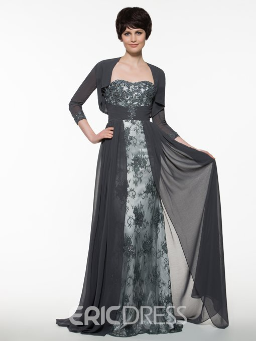 Ericdress Elegant Sweetheart A Line Long Mother Of The Bride Dress With Sleeves