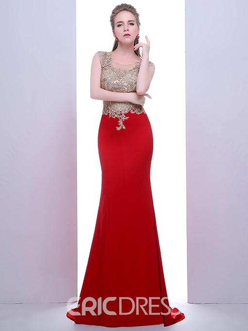 Ericdress Scoop Trumpet Appliques Beading Court Train Evening Dress