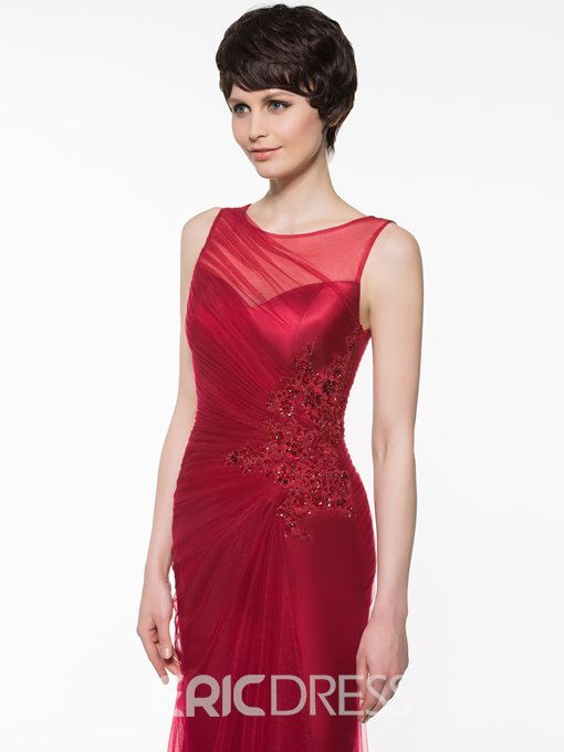 Elegant Scoop Neck Appliques Beading Mother of the Bride Dress