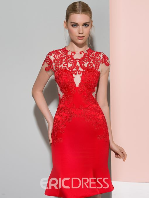 Ericdress Sheath Short Sleeves Short Cocktail Dress With Appliques