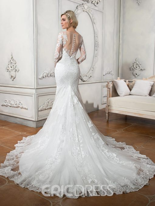 Ericdress Beautiful Scoop Long Sleeves Mermaid Wedding Dress