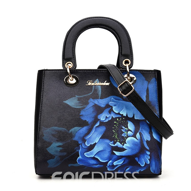 Ericdress Ethnic Blue And White Porcelain Print Handbag