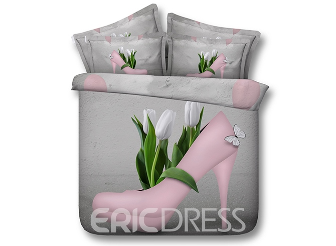 Vivilinen 3D Pink High Heel Shoe with White Tulips inside Printed 4-Piece Bedding Sets