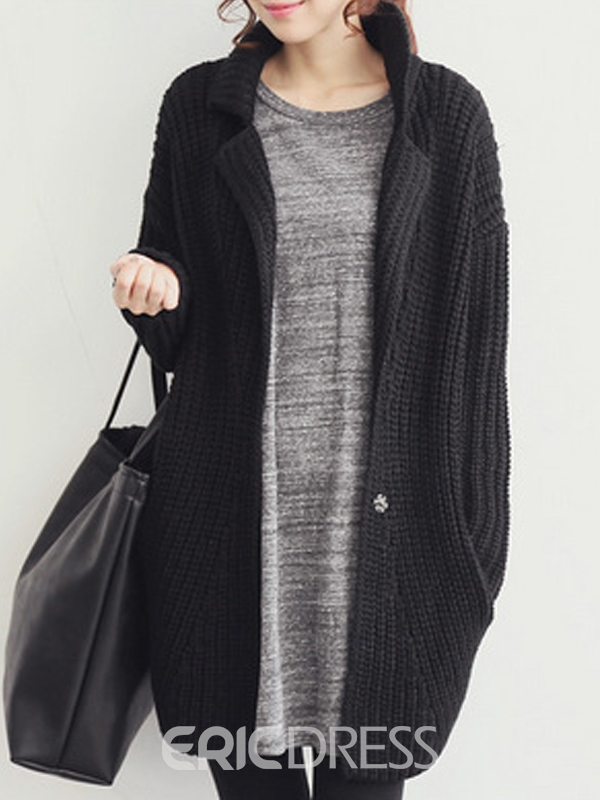 Ericdress Lapel Loose Chunky Knit Cardigan Sweater