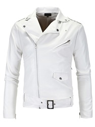 Ericdress Zip White PU Vogue Casual Mens Jacket