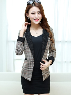 Ericdress Color Block Plaid Slim Blazer