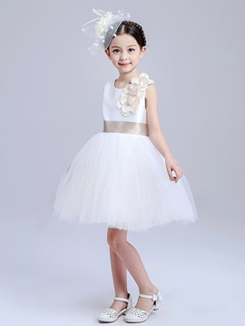 Ericdress Plain Floral Mesh Girls Dress