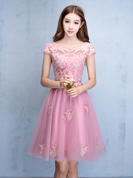 Ericdress A-Line Bateau Cap Sleeves Appliques Sashes Mini Homecoming Dress