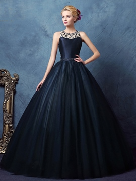 Ericdress Scoop Ball Gown Beaded Pearls Long Quinceanera Dress