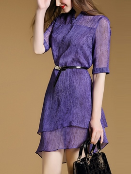 Ericdress Solid Color Asymmetric Double-Layer Casual Dress