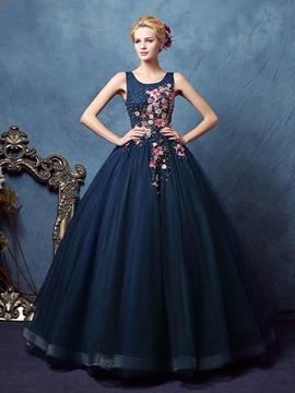 Ericdress Scoop Ball Gown Appliques Beaded Floor-Length Quinceanera Dress