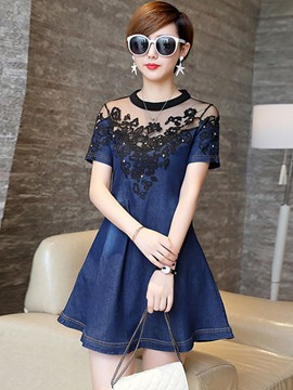 Ericdress Mesh Denim Patchwork Casual Dress